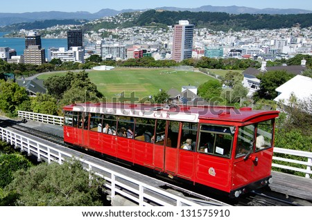 WELLINGTON - FEB 25 2013:The Red Historic Cable Car of Wellington, New Zealand. It's rising 120 m over a length of 612 m. It is widely recognized as a symbol of Wellington. - stock photo