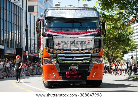 WELLINGTON, NEW ZEALAND - DECEMBER 13: Carnival groups and costumed characters, parade through the streets of Wellington during the Santa Parade on Sunday, December 13, 2015 in Wellington, New Zealand - stock photo