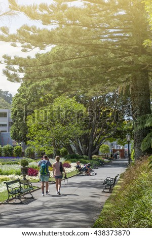 Wellington, New Zealand - March 2, 2016: Visitors resting at Wellington Botanic Garden, the largest public park in town