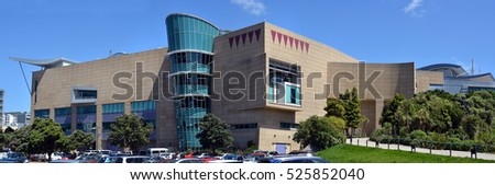 Wellington, New Zealand - November 18, 2016: Panoramic view of the New Zealand Te Papa Tongarewa Museum building on the waterfront in Wellington.