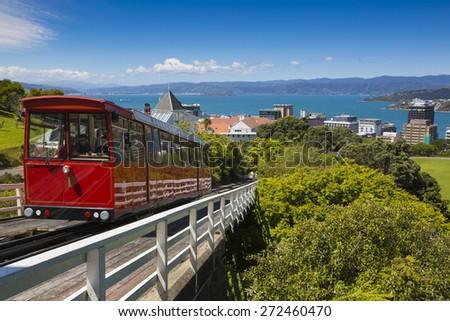 Wellington, New Zealand - November 18: View of the Wellington Cable Car in Wellington, New Zealand on November 18, 2014. - stock photo
