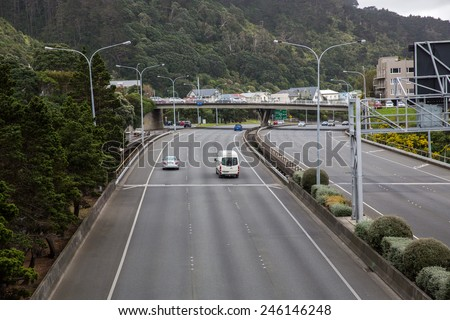 Wellington, New Zealand - September 26: View of local traffic on the streets of Wellington, New Zealand on September 26, 2014.