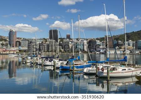 WELLINGTON, NORTH ISLAND/NEW ZEALAND - JANUARY 28, 2015: Wellington skyline and yacht marina. Wellington is the capital city and second most populous urban area of New Zealand.