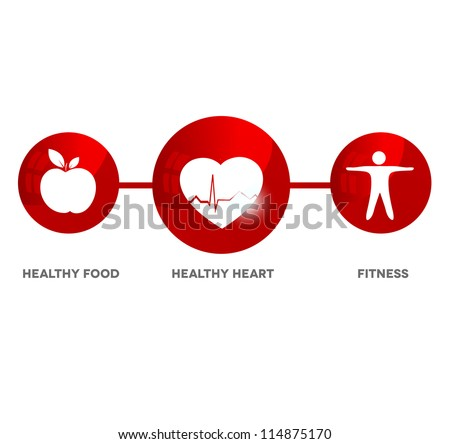 Wellness and medical symbol. Illustration symbolizes healthy food and fitness leads to healthy heart and healthy life. - stock photo