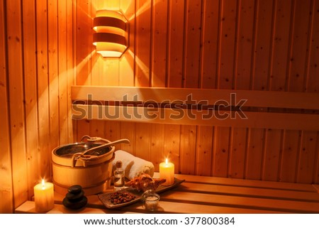 wellness and spa in the sauna - stock photo