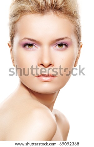 Wellness & beauty, cosmetics and make-up. Sensual woman model with clean face on white background - stock photo