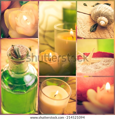 Wellness collage with floral water and bath salt - spa composition - stock photo