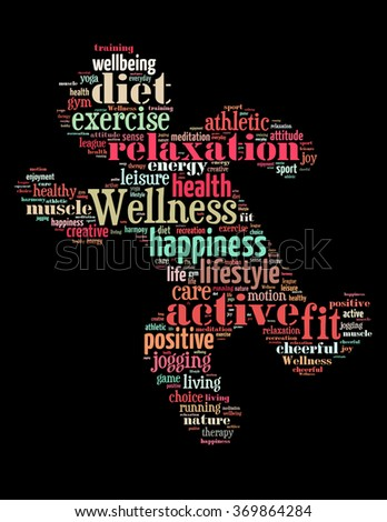 Wellness exercise, word cloud concept on black background.