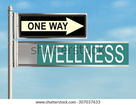 Wellness. Road sign on the sky background. Raster illustration.