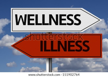 Wellness x Illness road sign and clouds in the background - stock photo
