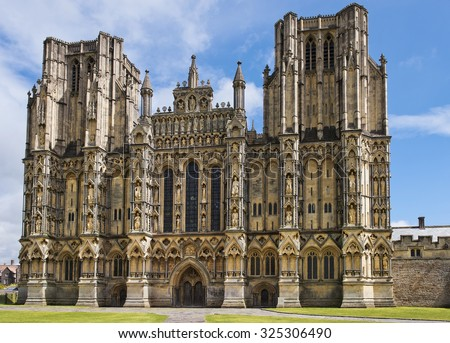 Wells Cathedral (Cathedral Church of Saint Andrew), Wells Abbey on sunny day, Somerset, England - stock photo