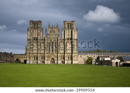 Wells cathedral in evening light - stock photo