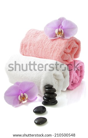 Welness items with flowers isolated over white - stock photo