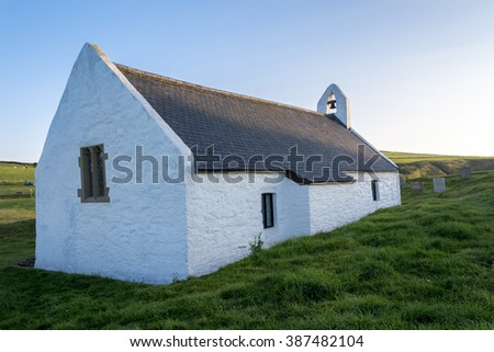 Welsh chapel, located in Mwnt, on Cardigan coast, on a summers evening