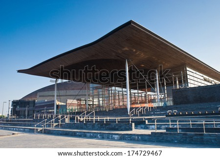 Welsh Parliament building at the stunning Cardiff Bay development.
