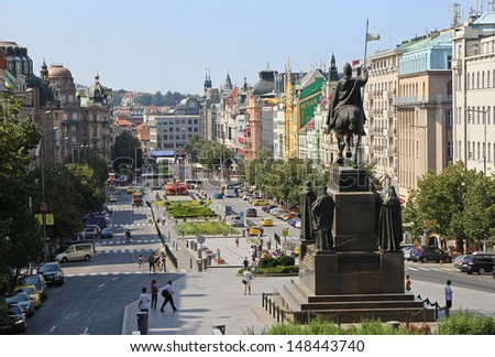 Wenceslas Square in Prague on a summer afternoon - stock photo