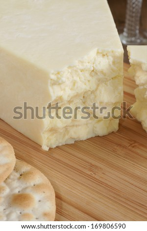 Wensleydale a traditional creamy and crumbly British cheese made in Wensleydale North Yorkshire