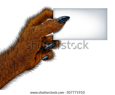 Werewolf hand holding a blank card sign as a creepy creature for halloween or scary symbol with textured hairy and textured skin with cursed wolf monster fingers on a white background. - stock photo