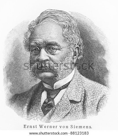 Werner von Siemens - Picture from Meyers Lexicon books written in German language. Collection of 21 volumes published  between 1905 and 1909.