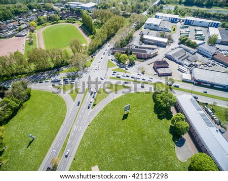 WESEL / GERMANY - MAY 06 2016 : The street crossing Southring and Schill street in the sun