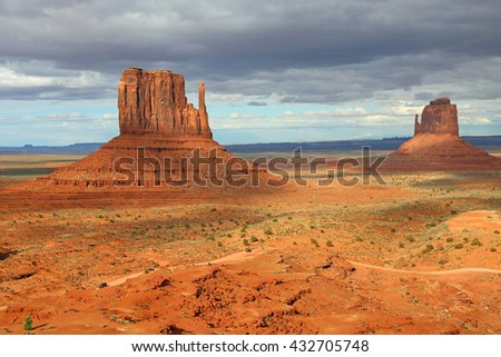 West and east Mitten Butte - Monument Valley, Arizona - stock photo