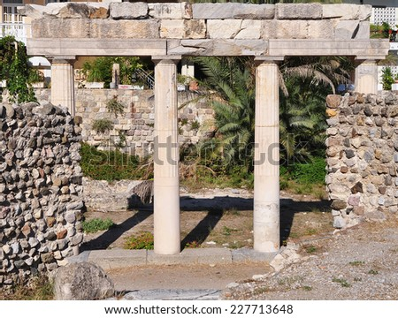 west archaeological site of island Kos, Greece - stock photo