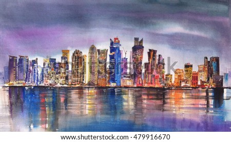 WEST BAY OF DOHA, QATAR - Painting