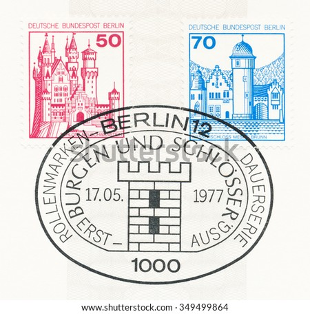 WEST BERLIN - CIRCA 1977: A  first day of issue postmark printed in Federal Republic of Germany, shows Neuschwanstein, Mespelbrunn, circa 1977