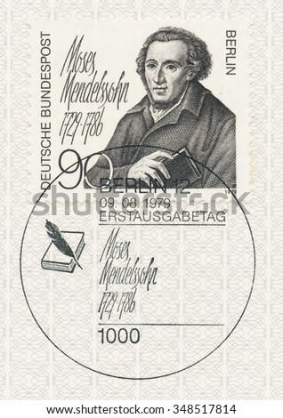 WEST BERLIN - CIRCA 1979: A  first day of issue postmark printed in FRG, shows portrait of the Moses Mendelssohn (1729-86), philosopher., circa 1979 - stock photo