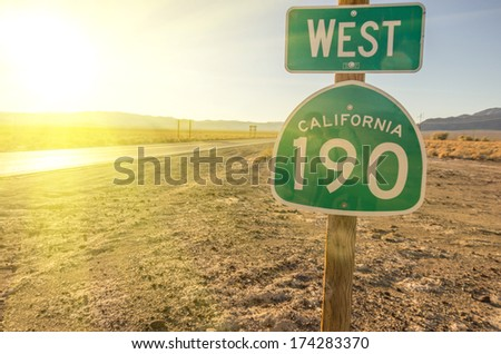 West California 190 signboard,Death Valley - stock photo