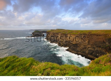 West Clare coastline on Loop Head Peninsula,showing rocks and cliffs sculptured by the Atlantic Ocean