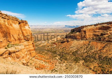 West Colorado Landscape. Grand Junction, Colorado, United States. Navajo Sandstone Formation in Colorado National Monument. - stock photo