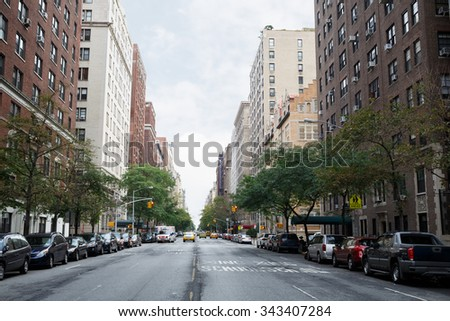 West End Avenue in New York City - stock photo