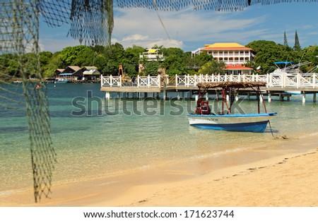 West End Beach, Roatan, Honduras - stock photo