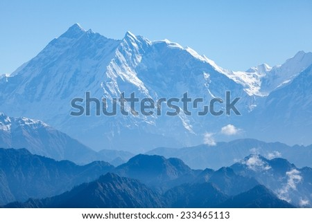 West face of Annapurna I and Annapurna South from Jaljala La, Annapurna Himal, Nepal.