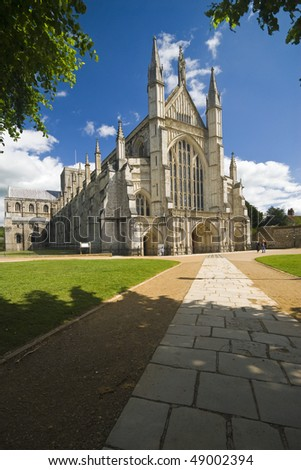 West front of the famous Winchester Cathedral on a beautiful day
