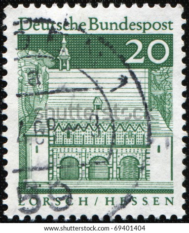 WEST GERMANY - CIRCA 1968: A stamp printed in West Germany shows Abbey Lorsch (Hesse) was established, the larger estates and churches in the country had Neckar,  circa 1968