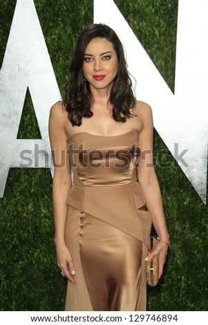 WEST HOLLYWOOD, CA - FEB 24: Aubrey Plaza at the Vanity Fair Oscar Party at Sunset Tower on February 24, 2013 in West Hollywood, California