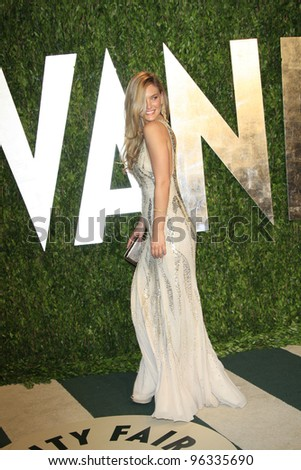 WEST HOLLYWOOD, CA - FEB 26: Bar Refaeli at the Vanity Fair Oscar Party at Sunset Tower on February 26, 2012 in West Hollywood, California.