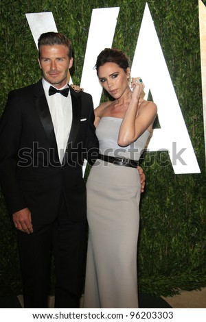 WEST HOLLYWOOD, CA - FEB 26: David Beckham; Victoria Beckham at the Vanity Fair Oscar Party at Sunset Tower on February 26, 2012 in West Hollywood, California.