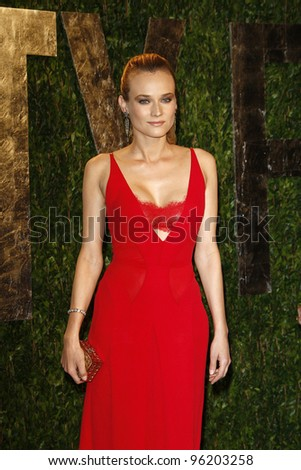 WEST HOLLYWOOD, CA - FEB 26: Diane Kruger at the Vanity Fair Oscar Party at Sunset Tower on February 26, 2012 in West Hollywood, California. - stock photo