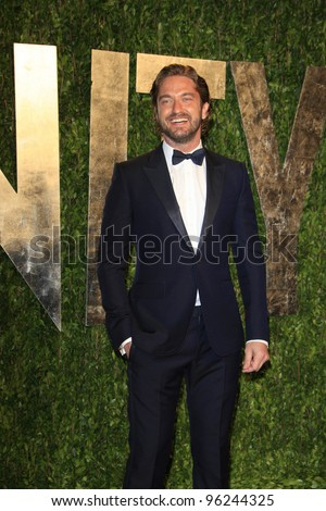 WEST HOLLYWOOD, CA - FEB 26: Gerard Butler at the Vanity Fair Oscar Party at Sunset Tower on February 26, 2012 in West Hollywood, California. - stock photo
