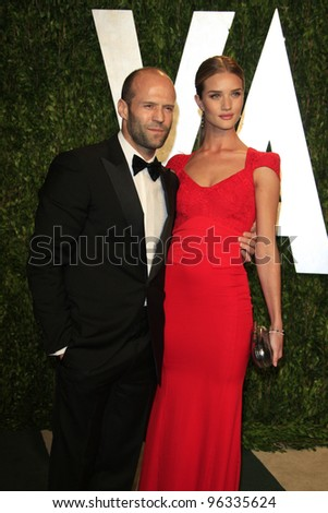 WEST HOLLYWOOD, CA - FEB 26: Jason Statham; Rosie Huntington-Whiteley at the Vanity Fair Oscar Party at Sunset Tower on February 26, 2012 in West Hollywood, California. - stock photo