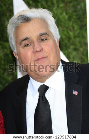 WEST HOLLYWOOD, CA - FEB 24: Jay Leno at the Vanity Fair Oscar Party at Sunset Tower on February 24, 2013 in West Hollywood, California - stock photo