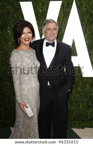 WEST HOLLYWOOD, CA - FEB 26: Les Moonves; Julie Chen at the Vanity Fair Oscar Party at Sunset Tower on February 26, 2012 in West Hollywood, California.