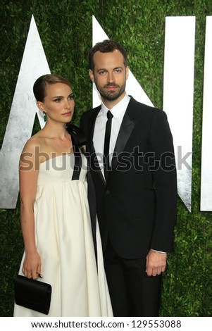 WEST HOLLYWOOD, CA - FEB 24: Natalie Portman, Benjamin Millepied at the Vanity Fair Oscar Party at Sunset Tower on February 24, 2013 in West Hollywood, California - stock photo