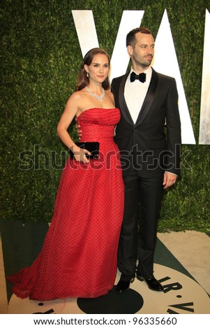 WEST HOLLYWOOD, CA - FEB 26: Natalie Portman; Benjamin Millepied at the Vanity Fair Oscar Party at Sunset Tower on February 26, 2012 in West Hollywood, California. - stock photo