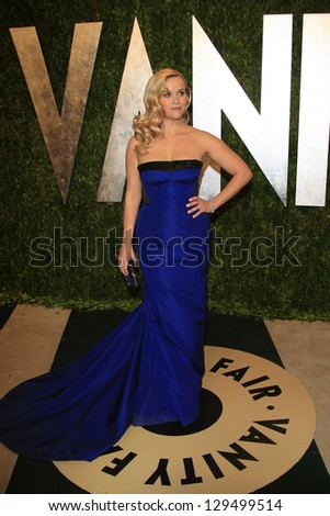 WEST HOLLYWOOD, CA - FEB 24: Reese Witherspoon at the Vanity Fair Oscar Party at Sunset Tower on February 24, 2013 in West Hollywood, California - stock photo