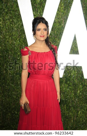 WEST HOLLYWOOD, CA - FEB 26: Salma Hayek at the Vanity Fair Oscar Party at Sunset Tower on February 26, 2012 in West Hollywood, California.