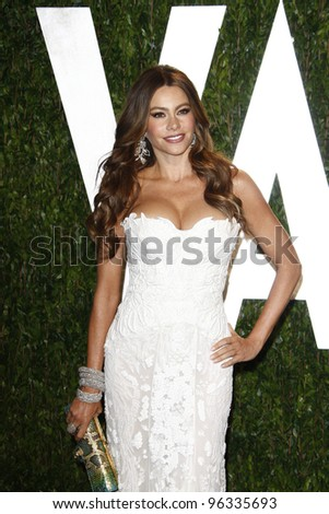 WEST HOLLYWOOD, CA - FEB 26: Sofia Vergara at the Vanity Fair Oscar Party at Sunset Tower on February 26, 2012 in West Hollywood, California. - stock photo